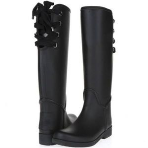 NEW Coach Tristee tall black lace up rain boots
